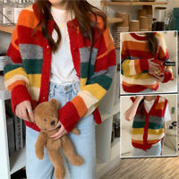 Women Rainbow Striped Sweater Pullover/ Vest/ Cardigan Jumper Tops Knitted Loose
