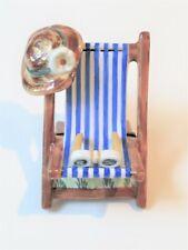 Limoges France Trinket Peint Main Box Lawn Chair, Hat, Sunglasses signed Rochard