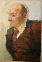 Russian Ukrainian Soviet Oil Painting realism portrait figure Lenin propaganda