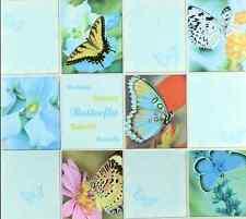 Textured vinyl Wallpaper roll wallcovering tile blue floral butterfly modern 3D