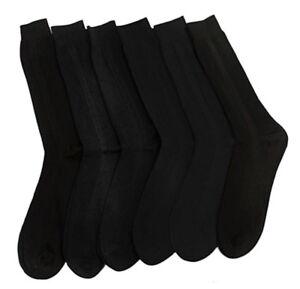 Knocker Mens BLACK 100% Crew Dress Socks Ribbed Pairs Lot Size  9-11