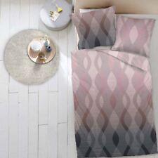 4 tlg. Dormisette Biber Bettwäsche 135x200 cm Welle rose anthrazit 5416-040E8