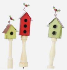Set of 3 Rustic Metal Birdhouse Plant Picks Floral Arrangements, Fairy Garden