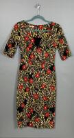 Joe Browns Size 8 Floral Pencil Dress Belt Loops No Belt Stretch Summer Occasion