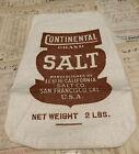 Vtg Printed Salt Sack Cotton Fabric Continental SALT CO. Display Kitchen Country