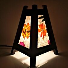 Asian Thai Oriental Wood Lamp Shades Triangle Pyramid Natural Starburst Flower