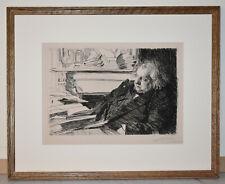 Listed Swedish Artist ANDERS LEONARD ZORN, Original Etching Signed Rare 1892