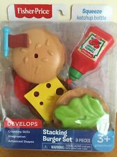 Fisher-Price Pretend Food Play Stacking Burger Set Preschool Learning Toy New