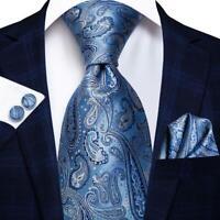 Classic Blue Paisley Mens Tie Woven Silk Necktie Set Hanky Cufflinks Wedding
