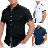 Mens Casual Short Sleeve Shirt Metal Snaps Button Loops Cotton Leather Like Slim