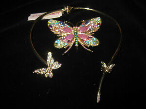 BETSEY JOHNSON BUTTERFLY CHOKER WITH BLING NECKLACE