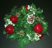Vintage Christmas Plastic Evergreen Holly Apples Centerpeice Candle Wreath
