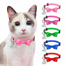 Personalised Cat Collars Breakaway Cute Bowknot ID Tag Collars with Bell Safety