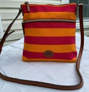 NEW Dooney & Bourke Pink & Orange w/Brown Leather Cross Body Handbag Purse