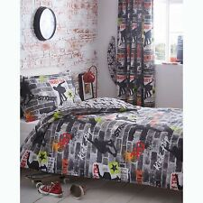 SKATEBOARD TRICKS SINGLE DUVET COVER SET BRICKS SKATERS BOYS KIDS TEENAGER NEW
