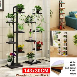 6 Tier Plant Ladder Shelf Corner Storage Unit Plant Stand Display Wood Rack