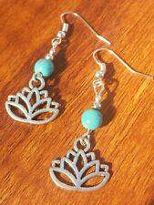Sterling Silver Hook Lotus Flower Turquoise Bead Earrings Gypsy Peace