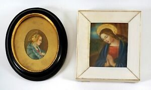 TWO, ANTIQUE 19th C. MINIATURE PAINTINGS RELIGIOUS CATHOLIC ICONS of MADONNA