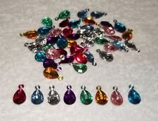 JOB LOT 50 Pretty FACETED ACRYLIC TEARDROP CHARMS Mixed Colours 15-18mm