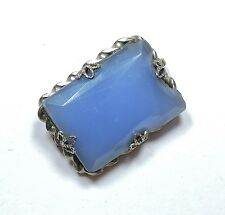 Art Deco Faceted Blue Glass Brooch Pin MA17323