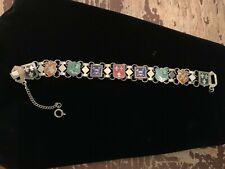 Vintage Enamel On Metal Shield Renaissance Bracelet 9 Panels