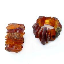 100% Natur Bernstein Ring Fingerring Gummizug Amber K593