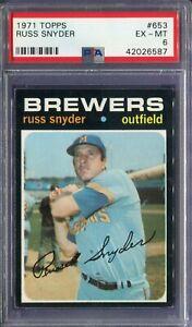 1971 Topps #653 Russ Snyder PSA 6 EX-MT