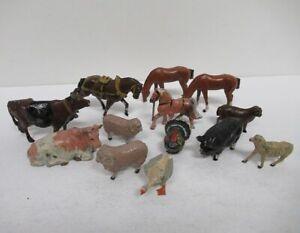Lot (13) Vintage Lead Farm Animals Figures Britains Horse Cow Sheep Duck yz6211