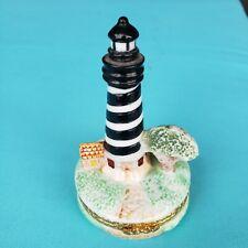 Coastal Lighthouse Porcelain Hinged Trinket Box Hand Painted