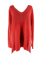 J. Jill Women's Coral Red Long Sleeve V-Neck Knit Pullover Sweater Size Medium