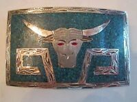 """STERLING SILVER BELT BUCKLE - STAMPED 925 - 3 1/2"""" X 2 1/4""""  TUB BB"""