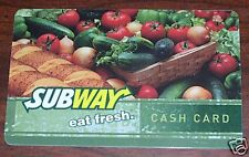 Subway Restaurant Eat Fresh Vegetables 2006 Gift Card Collectible NO $Value