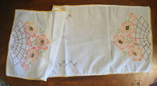 Embroidered Doily Table Runner 28 x 11 Inch White Gold Crochet Trim CUTE