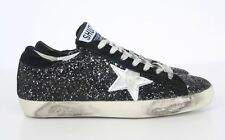 Vintage Washed Glitter Star Sneakers High Top / Low / Trainers in Black, Silver