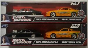 FAST AND FURIOUS SET BRIANS TOYOTA SUPRA + DOMS DODGE CHARGER R/T JADA 1/32 VHTF