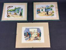 Lot 3 lithos signées thème bretagne port de pêche alsace lithographies