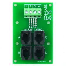 RJ9 4P4C Jack 4-Way Buss Breakout Board, Terminal Block, Connector.