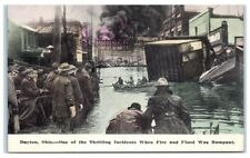 1913 Great Dayton Flood, High Water and Downtown Gas Explosion Fire Postcard