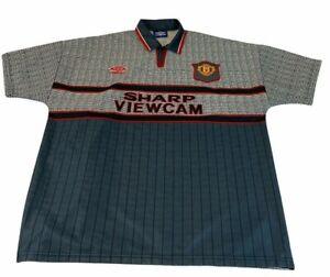 Manchester United Away Shirt 1995 1996 Mens XL Grey Football Jersey Umbro