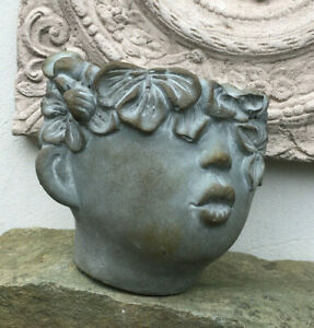 Jardiniere Bubikopf Steinguss Blumen Topf Vase Flaschenkühler Kräuter Krimskrams