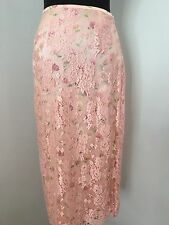 Escada Pencil Skirt 36 S XS Long Pink Silk Floral Lace Overlay Spring Bridal