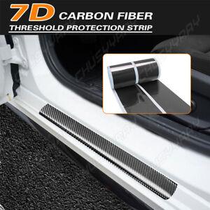 4x 5D Carbon Fiber Car Door Pedal Plate Sill Scuff Cover Anti Scratch Sticker