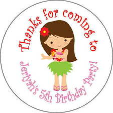 12 hula girl beach  stickers Birthday Party loot bag 2.5 Inch Personalized