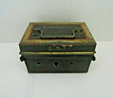 """Antique Miniature Black Tole Document Strong Lock Box. """"English Made"""" As Is"""