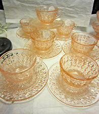 """Holiday """"Buttons and Bows"""" Pink Depression Glass Cups and Saucers by Jeannette G"""