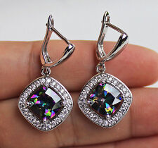 18K White Gold Filled - Hollow Square MYSTICAL Topaz Cocktail Hoop Lady Earrings
