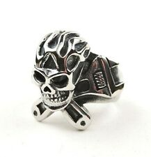 Stainless Steel Flaming Skull And Wrenches Ring - Free Gift Packaging