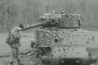 War Photo multiple hits in the tank M4 US album vintage WW2  4x6 inch I