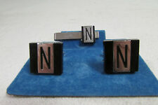 "& Silver Cufflinks & Tie Bar Set Vintage Signed Swank Letter / Initial ""N"" Black"