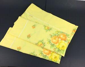 Vintage Percale Yellow Floral Full Flat Sheet w/ Standard Pillowcases Set Orange